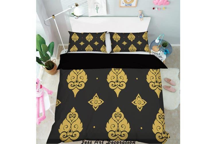 3D Gold Decorative Pattern Quilt Cover Set Bedding Set Pillowcases 153-King