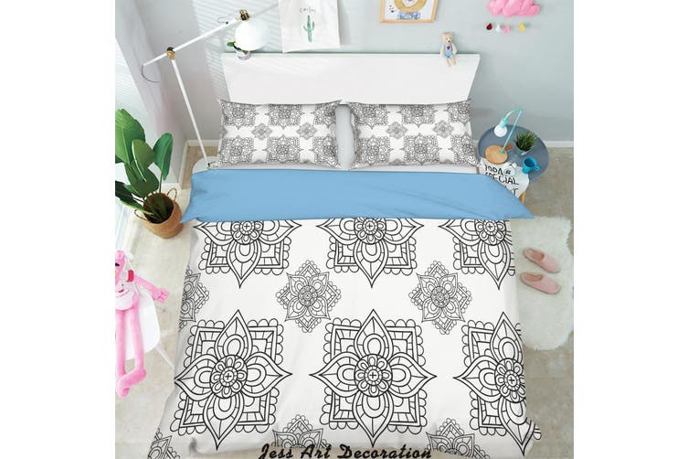 3D Black White Decorative Pattern Quilt Cover Set Bedding Set Pillowcases 152-King
