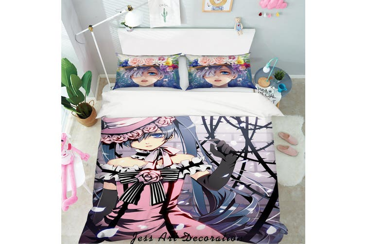 3D Black Butler Quilt Cover Set Bedding Set Pillowcases 78-Double