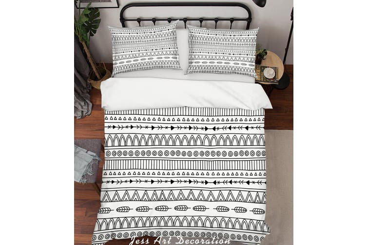 3D Black White  Stripes Background Quilt Cover Set Bedding Set Pillowcases 136-Single