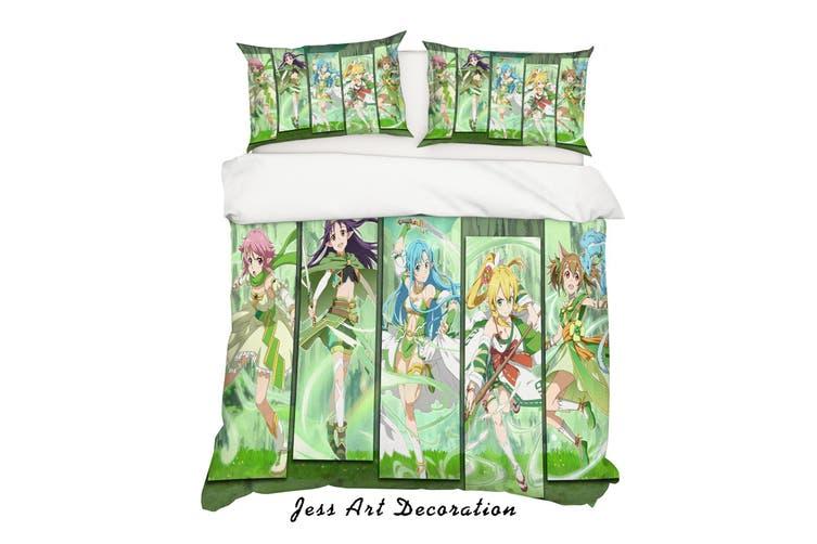3D Sword Art Online Quilt Cover Set Bedding Set Pillowcases 62-Queen