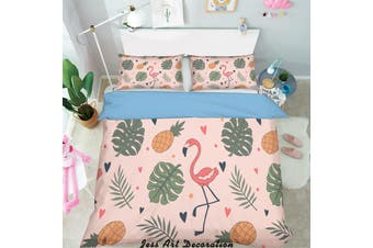 3D Cartoon Leaves Flamingo Quilt Cover Set Bedding Set Pillowcases 133-Single