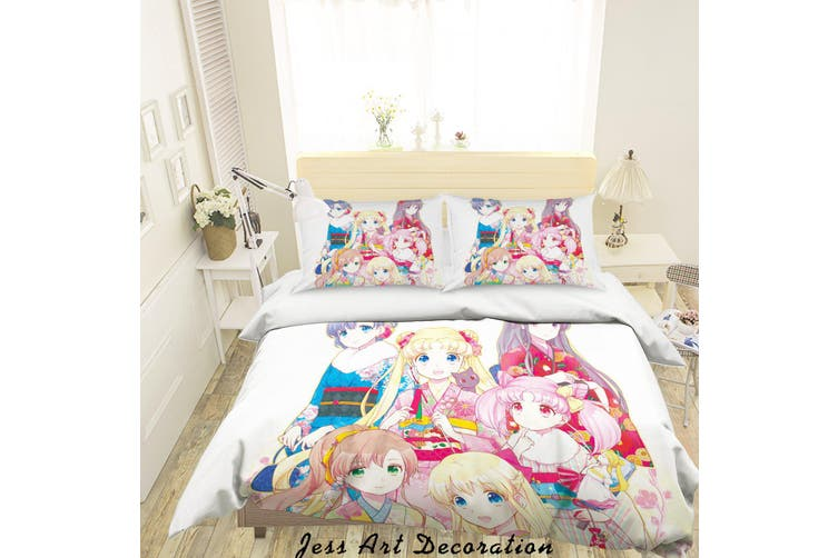 3D Sailor Moon Quilt Cover Set Bedding Set Pillowcases 58-King