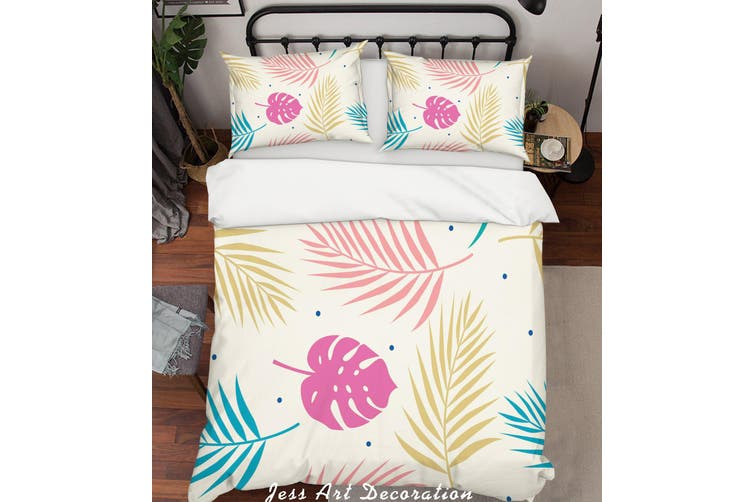 3D Color Tropical Plant Leaves Quilt Cover Set Bedding Set Pillowcases 132-Queen