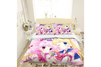 3D Sailor Moon Quilt Cover Set Bedding Set Pillowcases 54-Queen