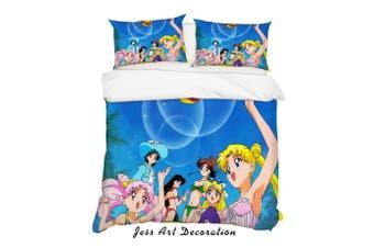 3D Sailor Moon Quilt Cover Set Bedding Set Pillowcases 53-Single
