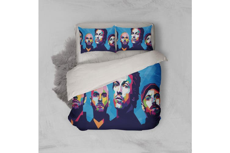 3D Band Coldplay Quilt Cover Set Bedding Set Pillowcases 208-Double