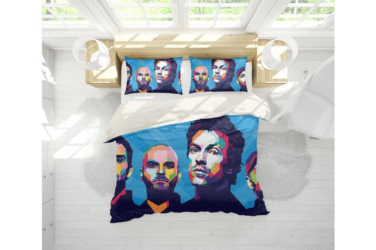 3D Band Coldplay Quilt Cover Set Bedding Set Pillowcases 208-Queen