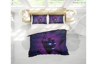 3D Band Deep Purple Quilt Cover Set Bedding Set Pillowcases 206-King