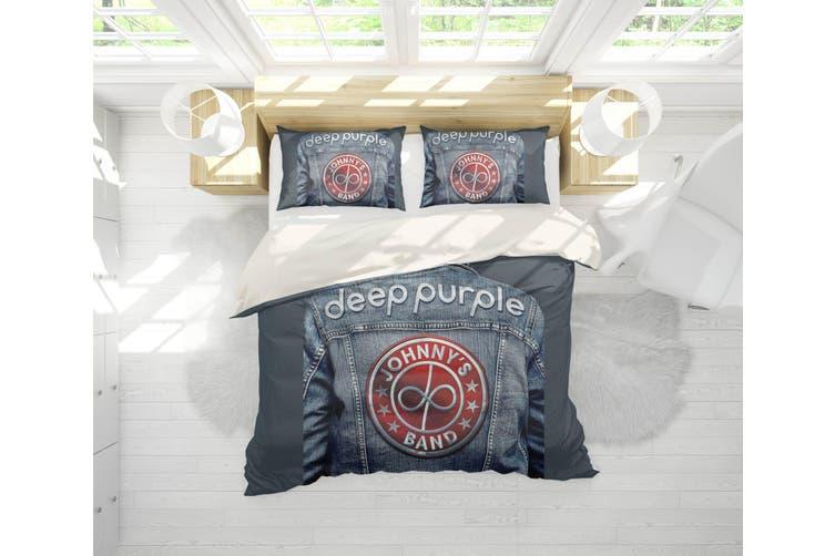 3D Band Deep Purple Quilt Cover Set Bedding Set Pillowcases 203-Queen