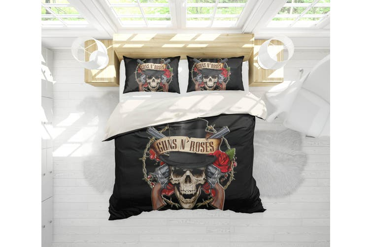 3D Band Guns N' Roses Quilt Cover Set Bedding Set Pillowcases 193-Double