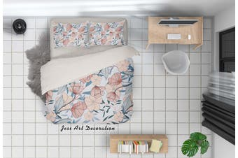 3D Pink Flowers Grey Leaves Quilt Cover Set Bedding Set Pillowcases 84-Single