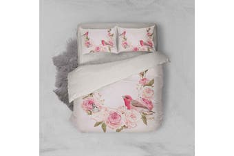 3D Color Flowers Bird Pink Background Quilt Cover Set Bedding Set Pillowcases  8-Queen