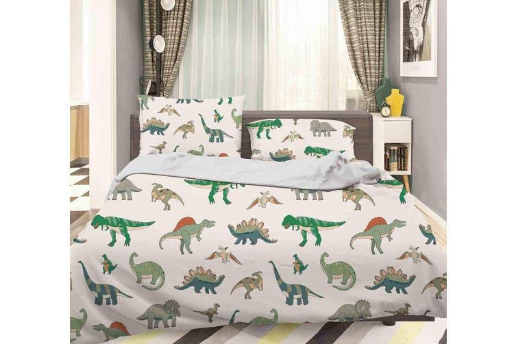 3D Color Cartoon Dinosaurs Pattern Quilt Cover Set Bedding Set Pillowcases  78-Queen
