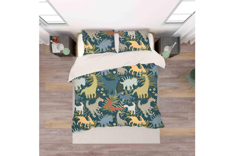 3D Color Cartoon Dinosaurs Pattern Quilt Cover Set Bedding Set Pillowcases  77-Double