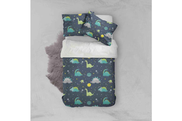 3D Cartoon Green Dinosaurs Pattern Quilt Cover Set Bedding Set Pillowcases  76-Double