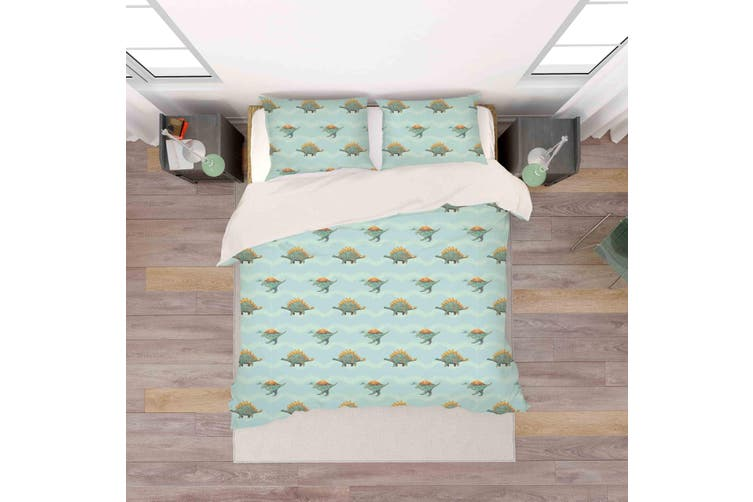 3D Cartoon Dinosaurs Pattern Green Background Quilt Cover Set Bedding Set Pillowcases  74-Single
