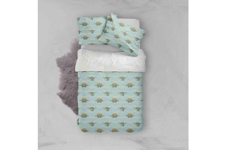 3D Cartoon Dinosaurs Pattern Green Background Quilt Cover Set Bedding Set Pillowcases  74-Double