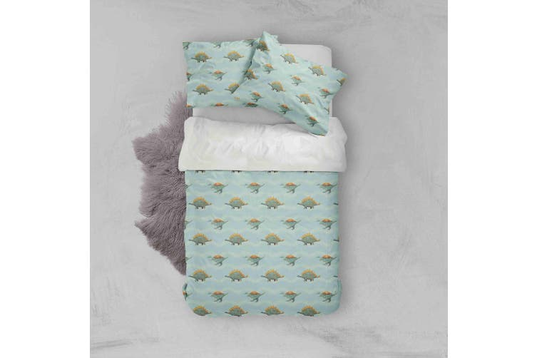 3D Cartoon Dinosaurs Pattern Green Background Quilt Cover Set Bedding Set Pillowcases  74-Queen
