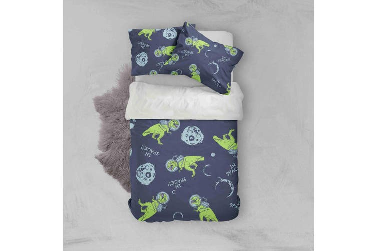 3D Cartoon Green Dinosaurs Astronaut Pattern Quilt Cover Set Bedding Set Pillowcases  71-King