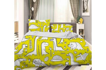 3D Cartoon White Dinosaurs Pattern Quilt Cover Set Bedding Set Pillowcases  70-Double