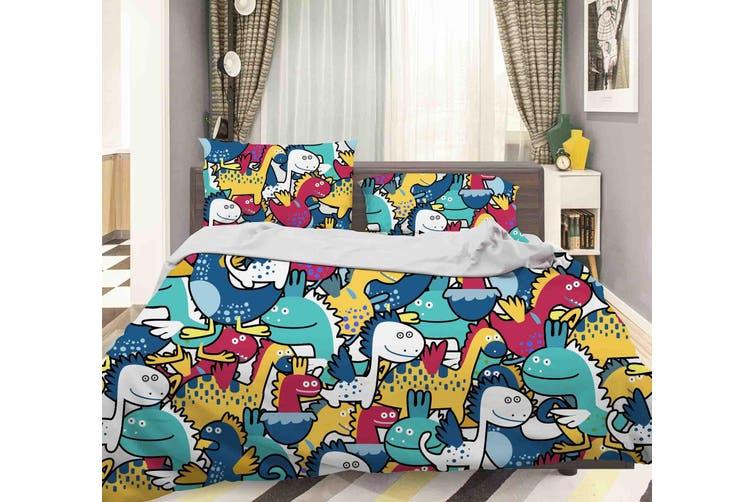 3D Color Cartoon Dinosaur Quilt Cover Set Bedding Set Pillowcases  47-Single