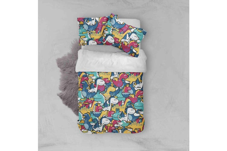 3D Color Cartoon Dinosaur Quilt Cover Set Bedding Set Pillowcases  47-Double