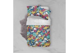 3D Color Cartoon Dinosaur Quilt Cover Set Bedding Set Pillowcases  47-King
