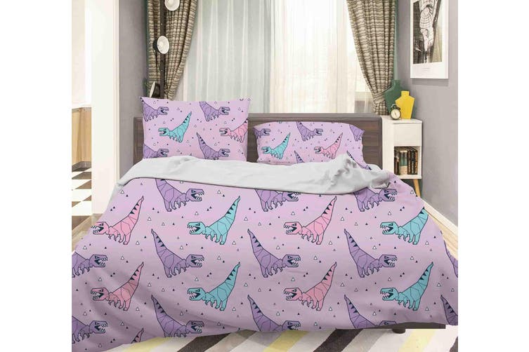 3D Color Cartoon Dinosaur Pattern Quilt Cover Set Bedding Set Pillowcases  43-Queen