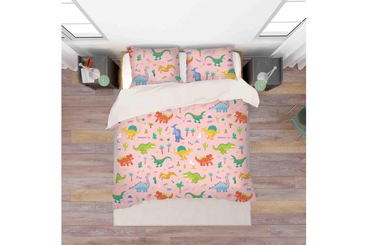 3D Color Cartoon Dinosaur Pattern Quilt Cover Set Bedding Set Pillowcases  42-Double