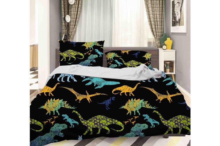 3D Color Dinosaur Pattern Quilt Cover Set Bedding Set Pillowcases  39-Single
