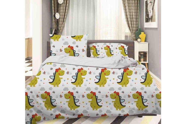 3D Green Cartoon Dinosaur Pattern Quilt Cover Set Bedding Set Pillowcases  37-Single