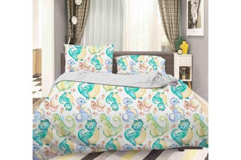 3D Green Cartoon Dinosaur Pattern Quilt Cover Set Bedding Set Pillowcases  35-Double