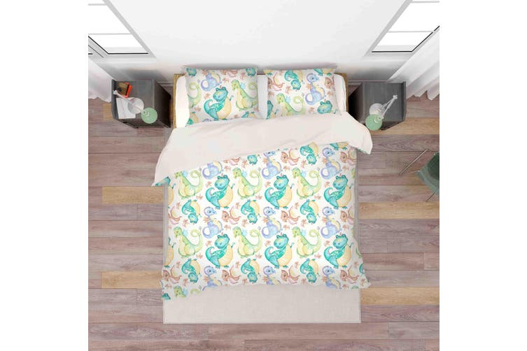 3D Green Cartoon Dinosaur Pattern Quilt Cover Set Bedding Set Pillowcases  35-Queen