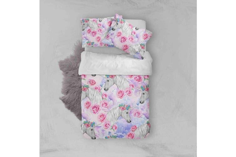 3D Red Flowers Unicorn Quilt Cover Set Bedding Set Pillowcases  34-Single