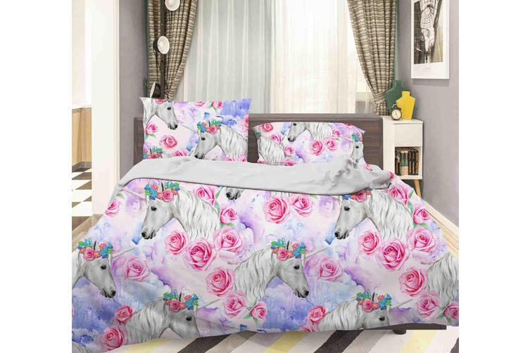 3D Red Flowers Unicorn Quilt Cover Set Bedding Set Pillowcases  34-Queen