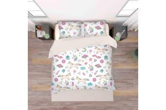3D Color Cartoon Unicorn Pattern Quilt Cover Set Bedding Set Pillowcases  31-King