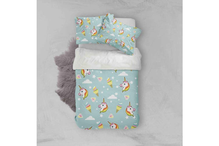 3D Color Cartoon Unicorn Pattern Quilt Cover Set Bedding Set Pillowcases  30-Single