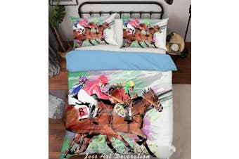3D Horse Racing Quilt Cover Set Bedding Set Pillowcases  221-Queen