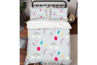 3D Grey Unicorn Rainbow Floral Quilt Cover Set Bedding Set Pillowcases 39-Single