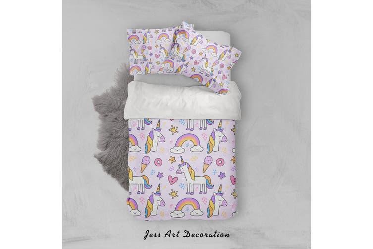 3D Unicorn Rainbow Star Heart Ice Cream Quilt Cover Set Bedding Set Pillowcases 38-Single