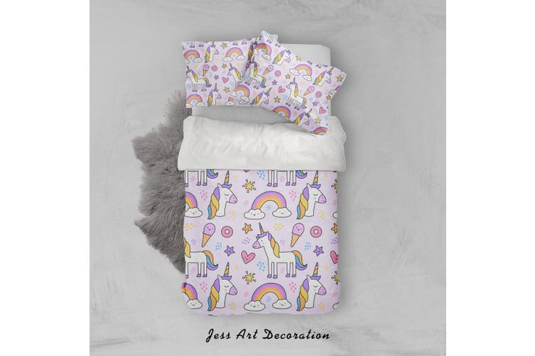 3D Unicorn Rainbow Star Heart Ice Cream Quilt Cover Set Bedding Set Pillowcases 38-Queen