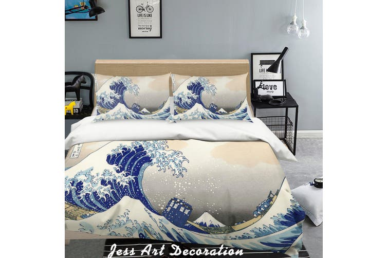 3D Cartoon Blue Sea Waves Quilt Cover Set Bedding Set Pillowcases  218-Single