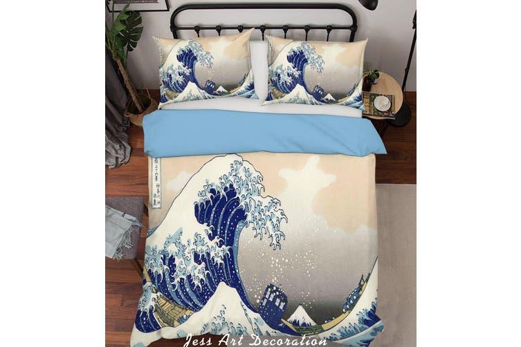 3D Cartoon Blue Sea Waves Quilt Cover Set Bedding Set Pillowcases  218-Double