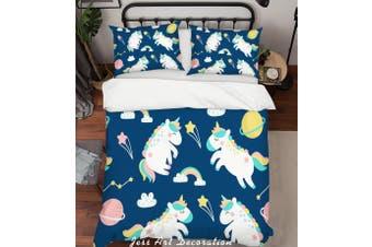 3D Blue Unicorn Rainbow Planet Star Quilt Cover Set Bedding Set Pillowcases 36-Queen