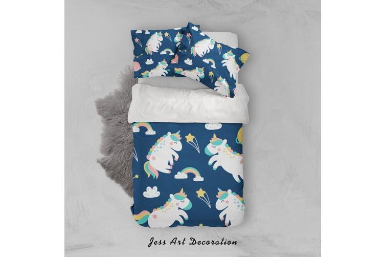 3D Blue Unicorn Rainbow Planet Star Quilt Cover Set Bedding Set Pillowcases 36-King