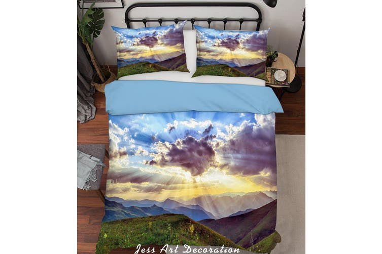 3D Green Mountain Sunshine Quilt Cover Set Bedding Set Pillowcases  216-Queen