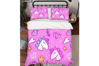 3D Pink Unicorn Floral Heart Quilt Cover Set Bedding Set Pillowcases 35-Single