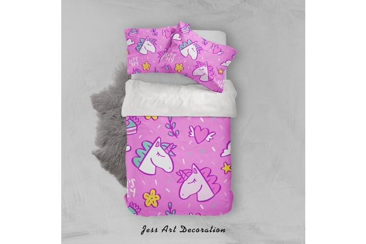 3D Pink Unicorn Floral Heart Quilt Cover Set Bedding Set Pillowcases 35-Double