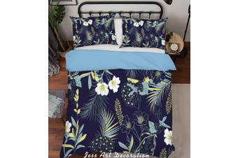 3D Flowers Pattern Black Background Quilt Cover Set Bedding Set Pillowcases  214-Single